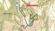 Mapa náučného chodníka Glanzenberg - Banská Štiavnica